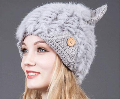 Winter Hat Thick Cap Sweet Lovely Wool Warm Lovely Faux Fur Headband Outdoor Sports Ski Earwarmer (Gray)