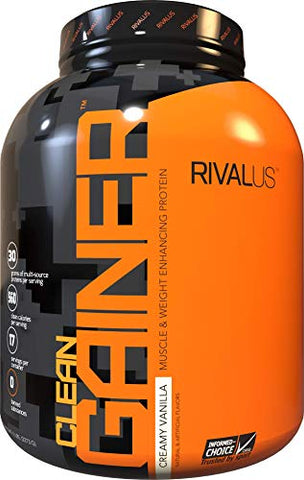 Rivalus Clean Gainer - Smooth Vanilla 5 Pound - Delicious Lean Mass Gainer with Premium Dairy Proteins, Complex Carbohydrates, and Quality Lipids, No Banned Substances, Made in USA
