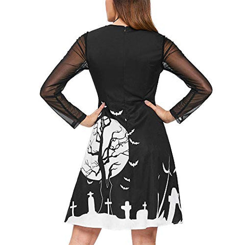 Women Fashion Halloween Bat Festival Print Mesh Patchwork Long Sleeve O Neck Hollow Out Knee Length Mini Dress Black