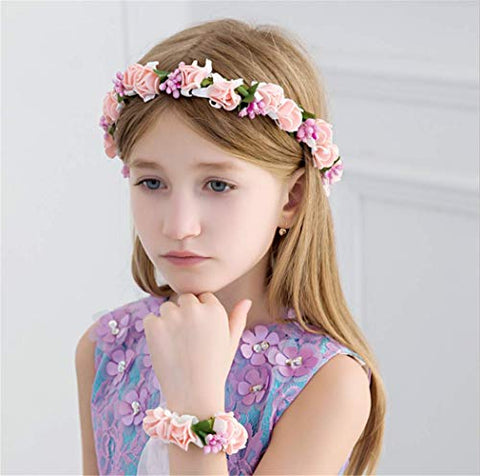 Forest & Rural Style Dance Performance Queen Princess Bridal Flower Garland Wristband Wreath Headband Crown Hair Decor