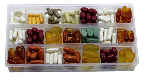 Inspirations 21 Compartments Pill Organizer Box, Medicine Remainder with Snap Lids, 7-Day AM/PM for Pills, Vitamins(6038, 21 Compartment)