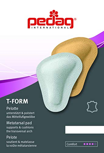 Pedag T-form Anatomically Correct Metatarsal Arch Pads to Lift and Shape, Leather, Large Large (EU 41-43/ US W11-13/M 8-10), 1 Count