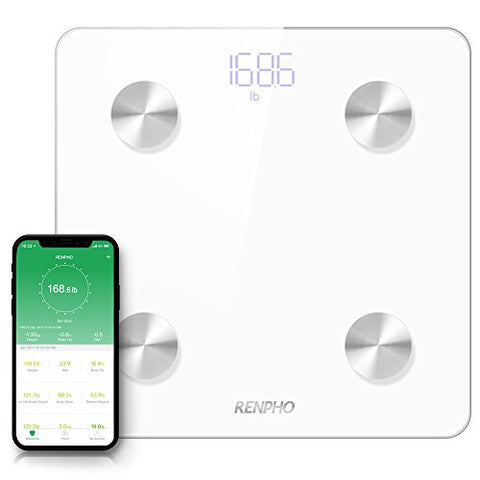 RENPHO Body Fat Scale Smart Digital Bluetooth Bathroom Weight BMI Scale Body Composition Monitor Analyzer with Smartphone App 396 lbs White