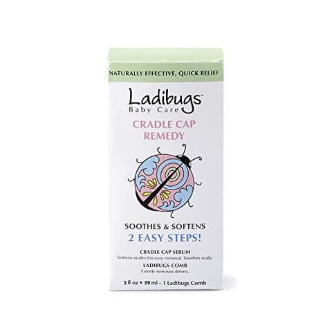Ladibugs Cradle Cap Remedy Kit, 3oz | Includes Cradle Cap Serum & Fine-Toothed Comb | Effectively Removes Scales & Flakes | Soothes & Softens Scalp