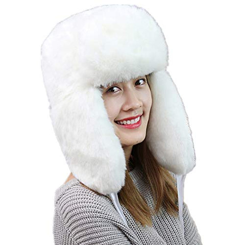 Winter Hat Thick Cap More Fashion Wool Warm Lovely Faux Fur Headband Outdoor Sports Ski Earwarmer (White)