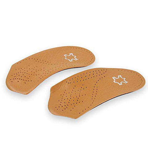 RGA 3/4 Leather Orthotic Inserts with Metatarsal Pad, Arch Support and Padding at The Heel (W11-12 M8-9 EU41-42)