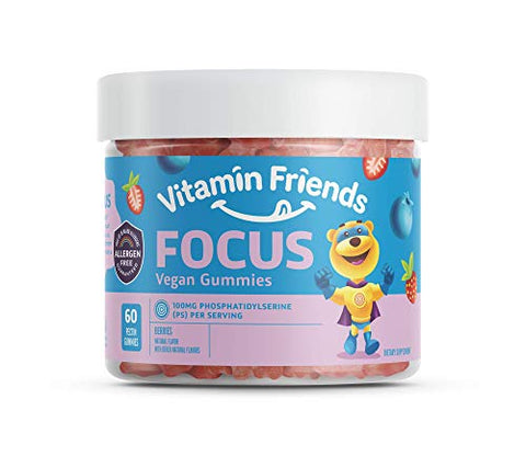 Vitamin Friends - Focus Supplement for Kids (60 Count) Smart Parents Support Memory Improvement and Mental Performance in Children, 100mg Phosphatidylserine (Sharp PS) Nootropic - Autism Approved