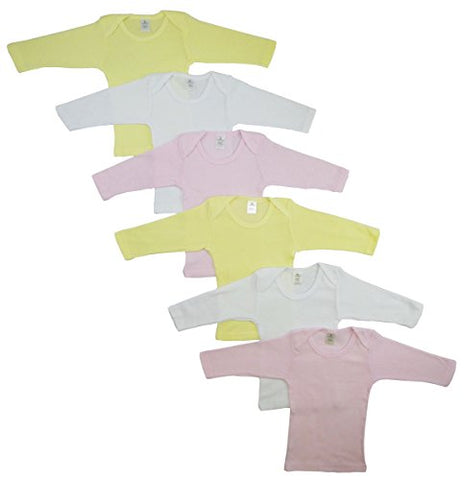 CS-052NB-052NB Boys Pastel Long Sleeve Lap T-shirts44; White with Pink & Yellow - Newborn