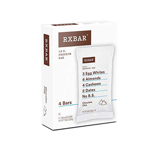 RXBAR, Chocolate Chip, Protein Bar, 1.83 Ounce (Pack of 4), High Protein Snack, Gluten Free