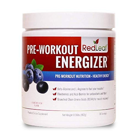 Red Leaf Pre Workout Energizer Powder, Bcaa's, Beta Alanine, Amino Acids And Green Tea For Immune Su