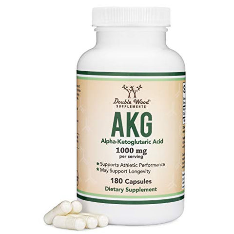 AKG Supplement (Alpha Ketoglutaric Acid) 1,000mg Per Serving (180 Capsules) Different and May Be More Effective Than AAKG (Recently Studied for Anti-Aging Properties) by Double Wood Supplements