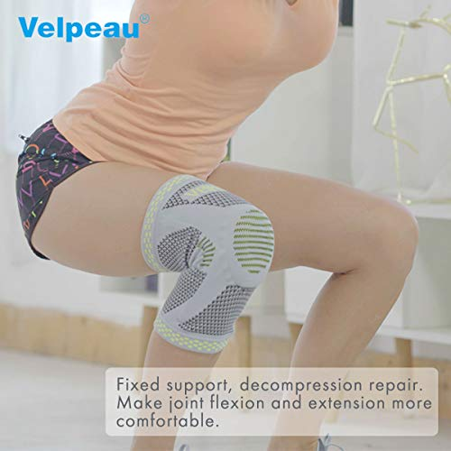 Velpeau Knee Brace - Best Knee Support with Patella Gel Pads & Side Stabilizers - Compressive Stabilized Sleeve of The Knee, Provides Relief of Pain, Weak, Swollen & Injured Knees - Gray, Small