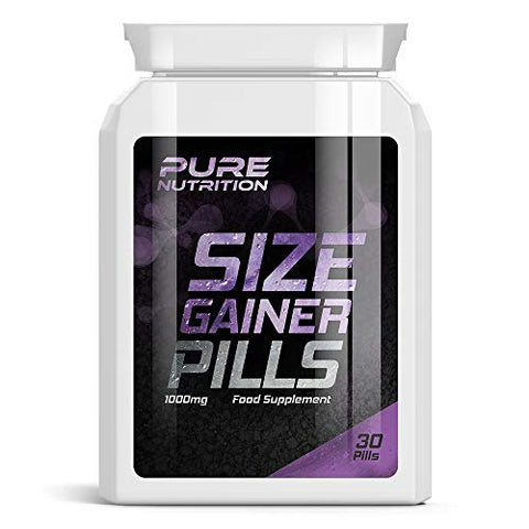 PURE NUTRITION Size Gainer Pills - Weight Gainer Pill GET Bigger Muscles Bulking GAIN Mass