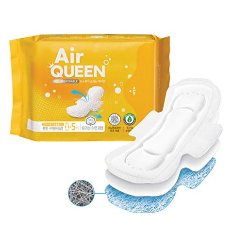 AIRQUEEN (Regular Super Ultra Slim Pads 1 Pack / 5 Total) Real Breathable Certified 100% Organic Cotton Menstrual Overnight Pads for Period - Ultra Slim & Super Absorbency Sanitary Napkins with Wings