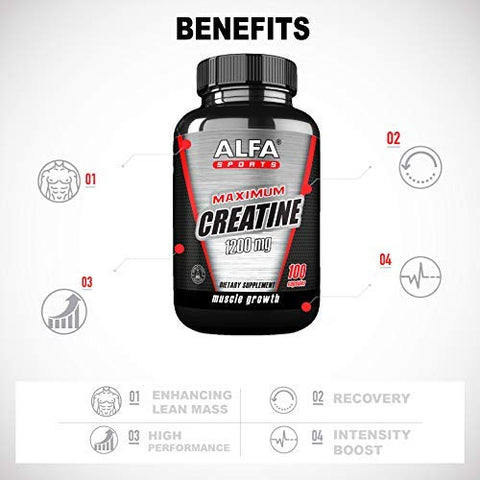 Maximum Creatine Monohydrate 1200 Mg 100 Capsules. Muscle Mass - Muscle Growth - Post Workout Recovery. Reduces Effects of Lactic Acid