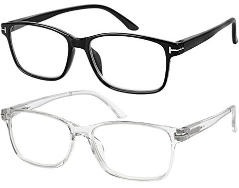 Computer Glasses 2 Pairs Anti Glare Classic Reading Glasses Quality Comfort Glasses for Men and Women +1.75