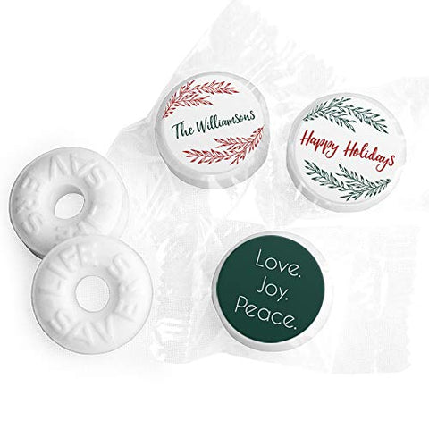 Christmas Mints Personalized Happy Holidays LifeSavers Mints (Approx 335-365 mints)