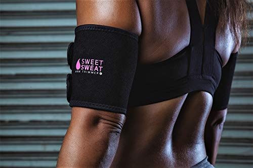 Sports Research Sweet Sweat Arm Trimmers for Men & Women | Increases Heat & Sweat Production to The Bicep Area | Includes Bonus Mesh Carrying Bag
