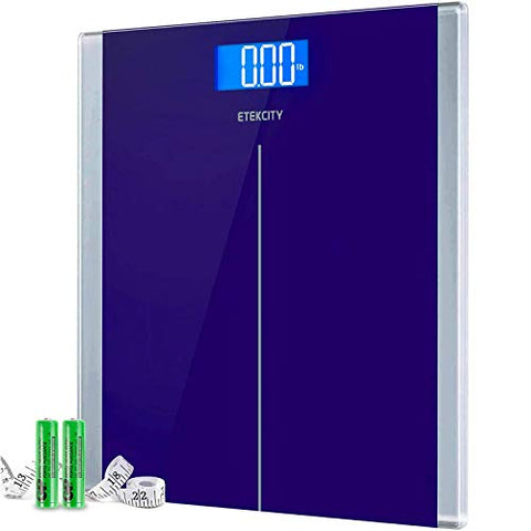 Etekcity Digital Body Weight Bathroom Scale with Step-On Technology, 400 Lb, Body Tape Measure Included, Blue