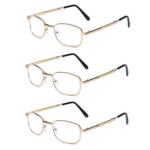 Reading glasses GCDW Collapsible Fold-Up Telescopic Arms, Double Light Glasses,Mens Womens Travel Office Glasses Includes Case,Gun Color/Gold (+2.5)