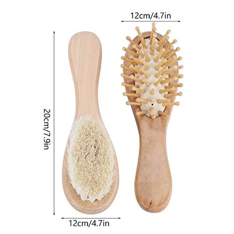 Hair Brush Comb Set, Baby Soft Natural Goat Hair Bristles Brush Infant Kids Wooden Head Massage Comb Bathing Tool Newborn Shower Registry Gift for Cradle Cap