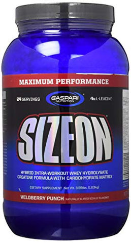 Gaspari Nutrition - SizeOn - The Ultimate Hybrid Intra-Workout Amino Acid & Creatine Formula, Increased Muscle Volume & Muscle Recovery - 3.59 Pound (Wild Berry Punch)