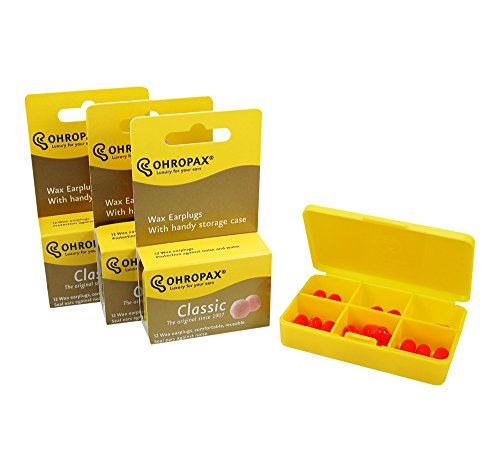 Ohropax Wax Ear Plugs Qty 3 Boxes - Total of 36 Ear Plugs with Free Yellow 6 Compartment Box