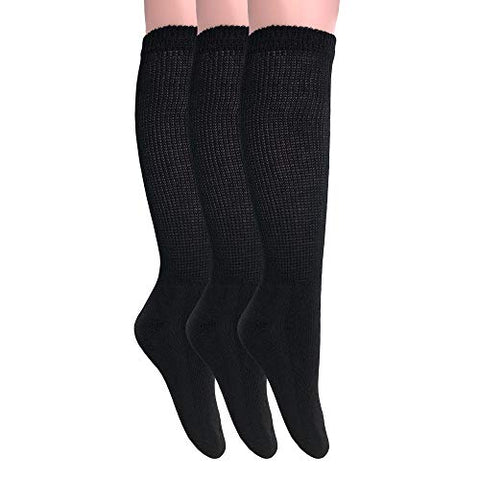 Diabetic Socks Over The Calf Big and Tall Extra Wide Full Cushion Socks Made in USA (10-13, Black - 3 Pairs)