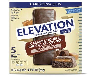 Millville Elevation Advanced Carb Conscious Better for You Caramel Double Chocolate Crunch Endulgent Bars - 5 ct.