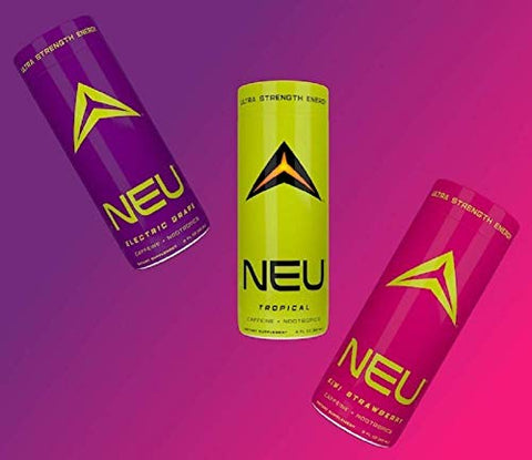 NEU Extra Strength Nootropic Energy Shots, Energy Drink: Brain Booster Focus Supplement, Coffee Alternative Nutritional Drink + Keto Energy Pre Workout with Zero Sugar - 3 Shot Variety (1 ea Flavor)