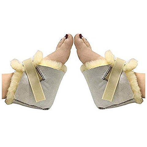 HUAHOO Genuine Medical Sheepskin Heel Protector for Bed sores Sheepskin Rug Sheepskin Protection Boots Sheepskin Foot Protectors (Pair)