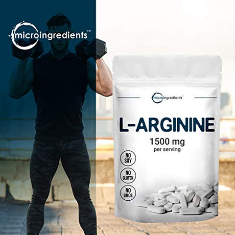 Micro Ingredients L Arginine Supplement, Arginine Caplet, 1500mg Per Serving, 200 Counts, Nitric Oxide Supplement for Muscle Growth, Vascularity and Energy, Non-GMO (No Flavor, 200 Count(Pack of 1))
