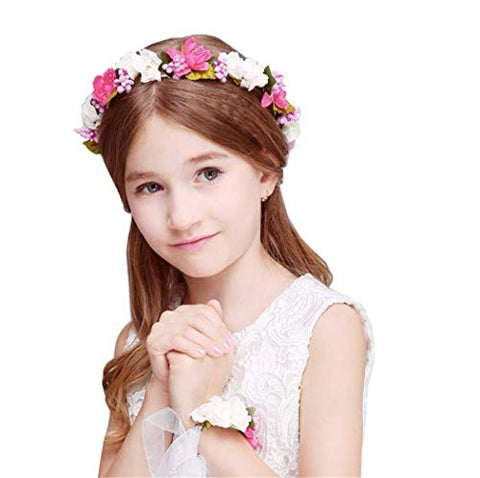Forest & Rural Style Red White Queen Princess Bridal Flower Garland Wristband Wreath Headband Crown Hair Decor