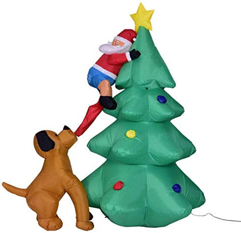 LIMINGZE Inflatable Christmas Decoration Santa Claus Climbing On Christmas Tree Outdoor Chased by Dogs Decoration Christmas Party Decor 180CM