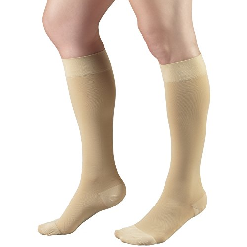 Truform Short Length 20-30 mmHg Compression Stockings for Men and Women, Reduced Length, Closed Toe, Beige, Large