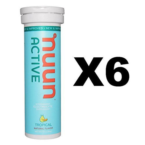 Nuun Active: Tropical Fruit Electrolyte Enhanced Drink Tabs (6 Tubes of 10 Tabs)