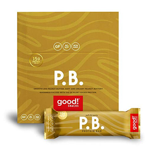 good! Snacks Vegan Peanut Butter Protein Bar | Gluten-Free, Plant Based, Low Sugar, Kosher, Soy Free, Non GMO | 15g Protein (12 Bars)