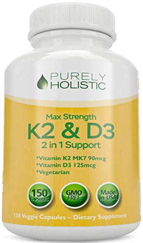 Vitamin D3 125mcg And Vitamin K2 90mcg Mk7   4 Month Supply 150 Vegetarian Capsules   Vitamin D3 & K