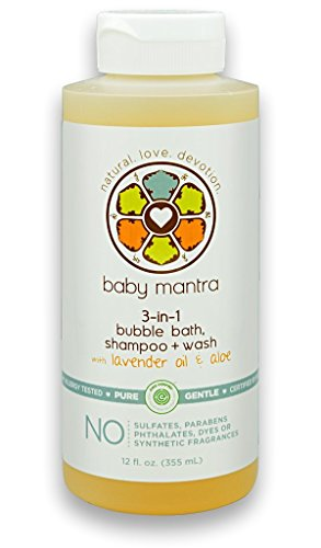 Baby Mantra 3-in-1 Bubble Bath, Shampoo and Body Wash made with Natural, Hypoallergenic, & EWG Verified Ingredients for Infants, Toddlers, and Kids with Sensitive Skin, 12 Fluid Ounces
