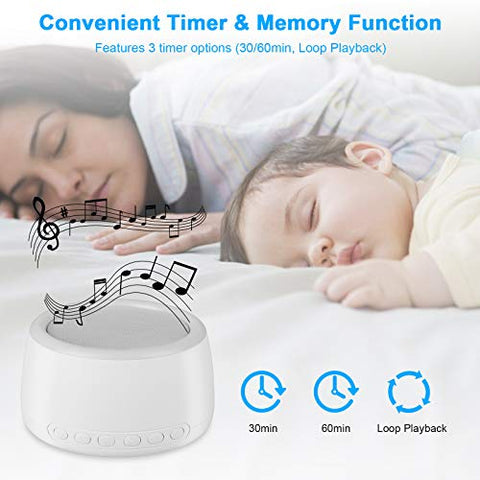 White Noise Machine, 30 Soothing High Fidelity Nature Sleep Sound Machine, Rechargeable Noise Machine for Sleeping, Auto-Off Timer, Portable Sound Machine for Baby Adult Home Travel