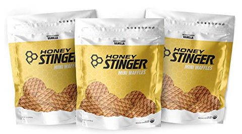 Honey Stinger Mini Waffles  Variety Pack with Sticker  3 Count  Vanilla Flavor  Energy Source for Any Activity  Resealable Bags