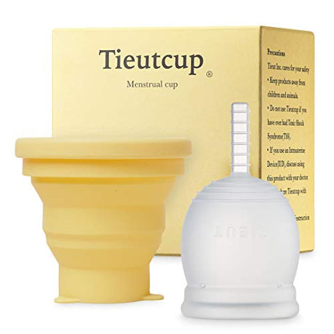 Tieutcup Menstrual Cup - Size Large (42ml) - with Foldable Storage Cup - FDA Registered - High Capacity - Reusable Medical-Grade Silicone