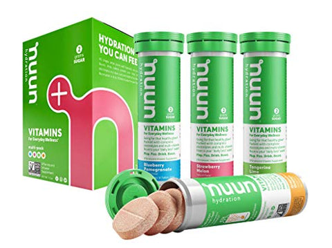 Nuun Vitamins: Vitamins + Electrolyte Drink Tablets, Mixed Fruit Flavor Pack, Box of 4 Tubes (48 Servings), Enhanced Everyday Wellness