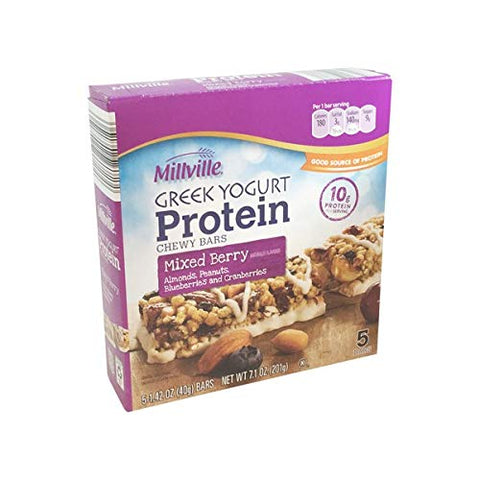 Millville Greek Yogurt Naturally Flavored Mixed Berry with Almonds, Cranberries, Blueberries, Peanuts Protein Chewy Bars - 5 ct.