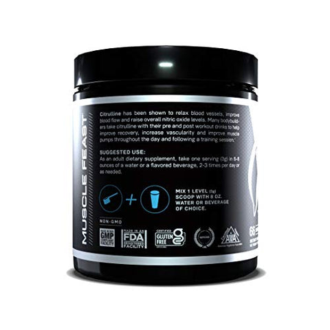 MUSCLE FEAST Premium Vegan L-Citrulline Powder, Enhance Muscle Pumps, Improve Muscle Vascularity, Nitric Oxide Booster, Citrulline, Unflavored, 200 Grams