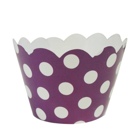 Wrapables Standard Size Polka Dots Cupcake Wrappers (Set of 20), Purple