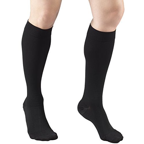 Truform Short Length 20-30 mmHg Compression Stockings for Men and Women, Reduced Length, Closed Toe, Black, X-Large