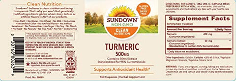 Turmeric Herbal Supplements By Sundown, For Antioxidant Health, Non Gmoë?, Free Of Gluten, Dairy, Ar