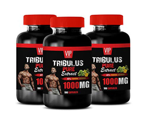 Performance Vitamins for Men - TRIBULUS Pure Extract 1000MG - terrestris Extract - 3 Bottles 300 Capsules