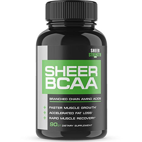Sheer Strength Labs BCAA Capsules - Extra Strength 1,950mg Branched Chain Amino Acids Muscle Building Post Workout Supplement, 90 Easy-Swallow Veggie Caps, 30 Day Supply